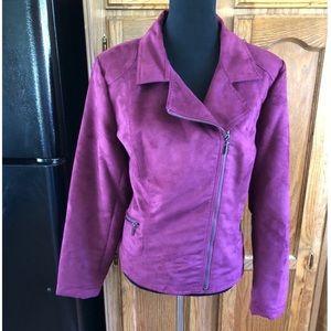 Laura Ashley Purple Faux Suede Jacket Size XL
